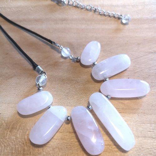 """collier plastron en pierre naturelle """" quartz rose"""""""