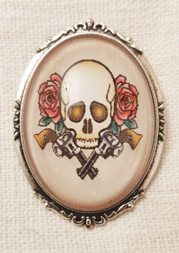 Broche argenté tatoo tête de mort